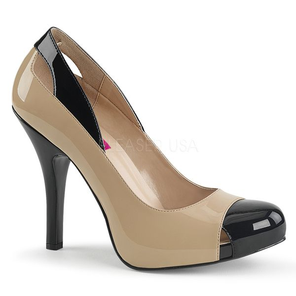 High Heel Stiletto Pumps zweifarbig nude-schwarz mit eingearbeitetem Plateau EVE-07